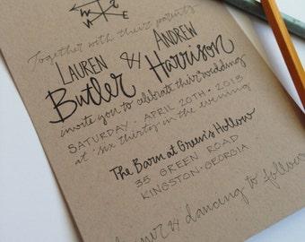 Kraft Paper Wedding Invite / Weathervane Wedding Invitations / Rustic Wedding Invitation Set / Kraft Wedding / Simple / Shabby Chic