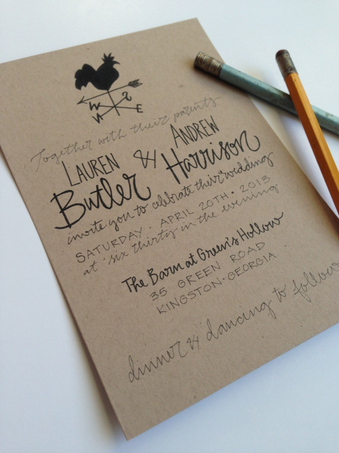 Kraft Paper Wedding Invite Weathervane Wedding Invitations