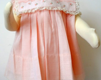 VintageGirls Pink Polka Dot dress with lace and flower collar- Size 12 months - new, never worn