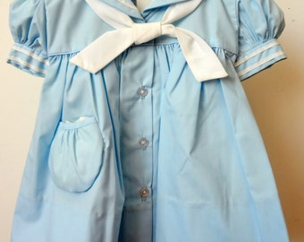 Vintage Girls Baby Blue Sailor Dress- New, never worn