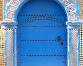 Moroccan Decor. Morocco. Essaouira Photograph. Blue Door. Travel Photography. Wall Decor. Yellow. Fine Art. Africa. Moroccan.
