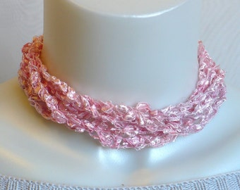Pink Ladder Yarn Necklace, Crochet Ribbon Choker, Handmade Fiber Necklace, Trellis Yarn Necklace, Handmade in the USA