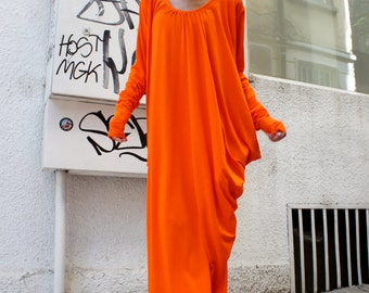 Orange   Asymmetric Kaftan / Maxi Dress / Loose Extra Long Sleeve Kaftan A03105