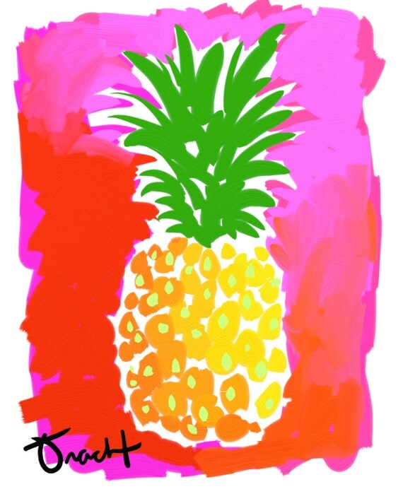 art print 11x14 pineapple pink and green artist kelly tracht. Black Bedroom Furniture Sets. Home Design Ideas