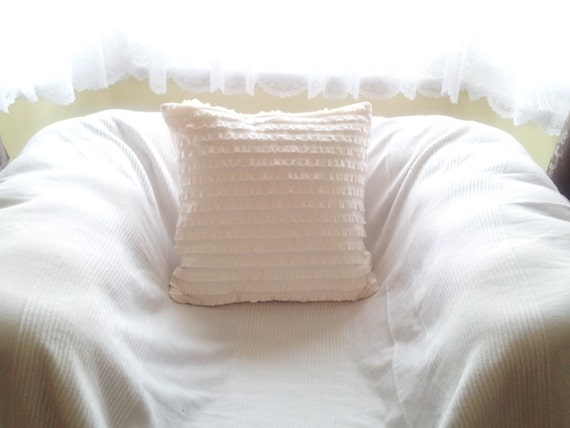 Ruffle pillow shabby chic pillow white pillows ruffle