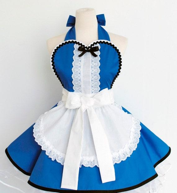 SALE- Alice in Wonderland Apron- Blue/Red