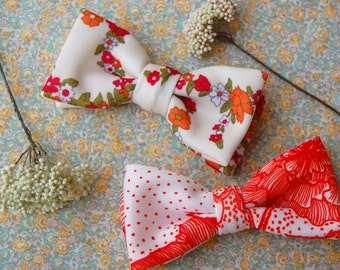SALE! Flower Power Knit Bow Tie - Clip-on bowtie made to order from vintage floral polyester fabric.