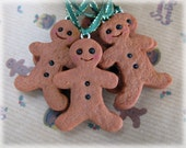 Gingerbread Man Decoration Fimo Polymer Clay Hanging Christmas Tree Ornament with Green Ribbon