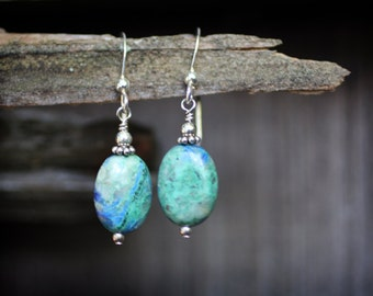 Earth Stones: Chrysocolla and Sterling Silver Earrings