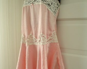 Vintage Lily of France Liquid Satin and Lace Nightgown Chemise in Warm Pink