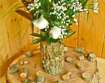 tree branch vase log flower holder for rustic weddings country weddings rustic - Rustic Center