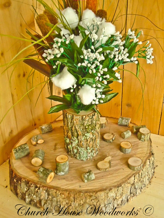 Tree branch vase log flower holder for rustic weddings
