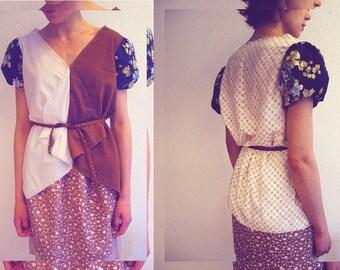 Eine Sommer Bluse mit Print Mix, Puffärmeln, Floral print - ein Unikat in Größe S/M