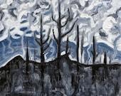 ORIGINAL Acrylic Painting - Charred Landscape - 12 x 12 - Deep Colored Landscape Art