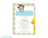 jungle baby shower, personalized invitations, set of 15 invitations, printable file also available