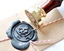 B20 Wax Seal Stamp Pirate Skull Sword