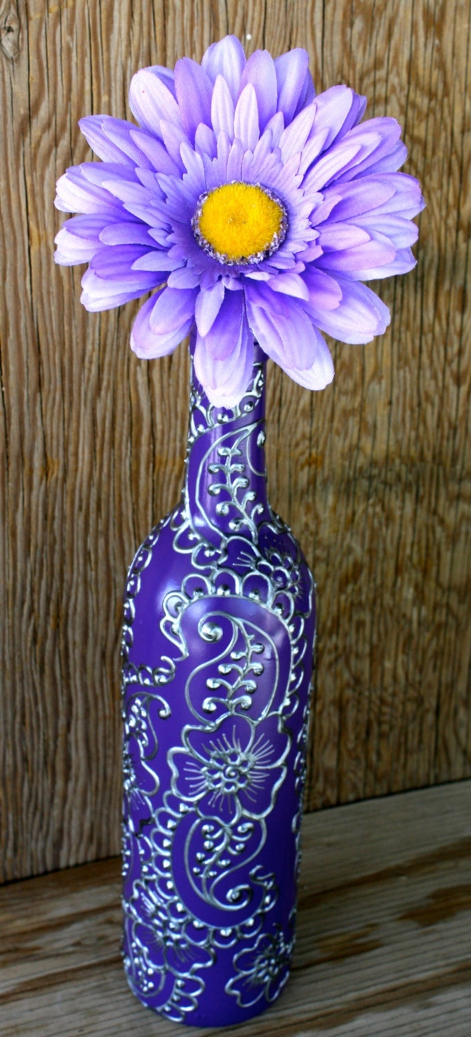 Hand painted wine bottle vase up cycled purple background for How to make flower vases out of wine bottles