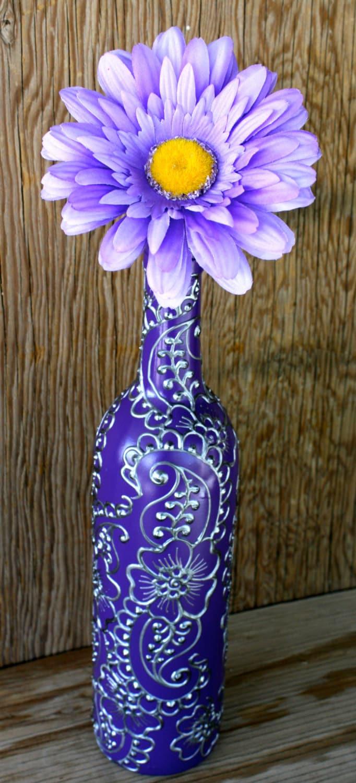 Hand painted wine bottle vase up cycled purple background for Wine bottle flower vase