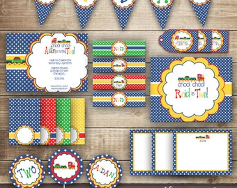 Train Birthday PARTY PACKAGE / 1st, 2nd, 3rd Boy's Birthday Train Party Kit / Red, Green, Blue & Yellow / Choo Choo Train  - Printable