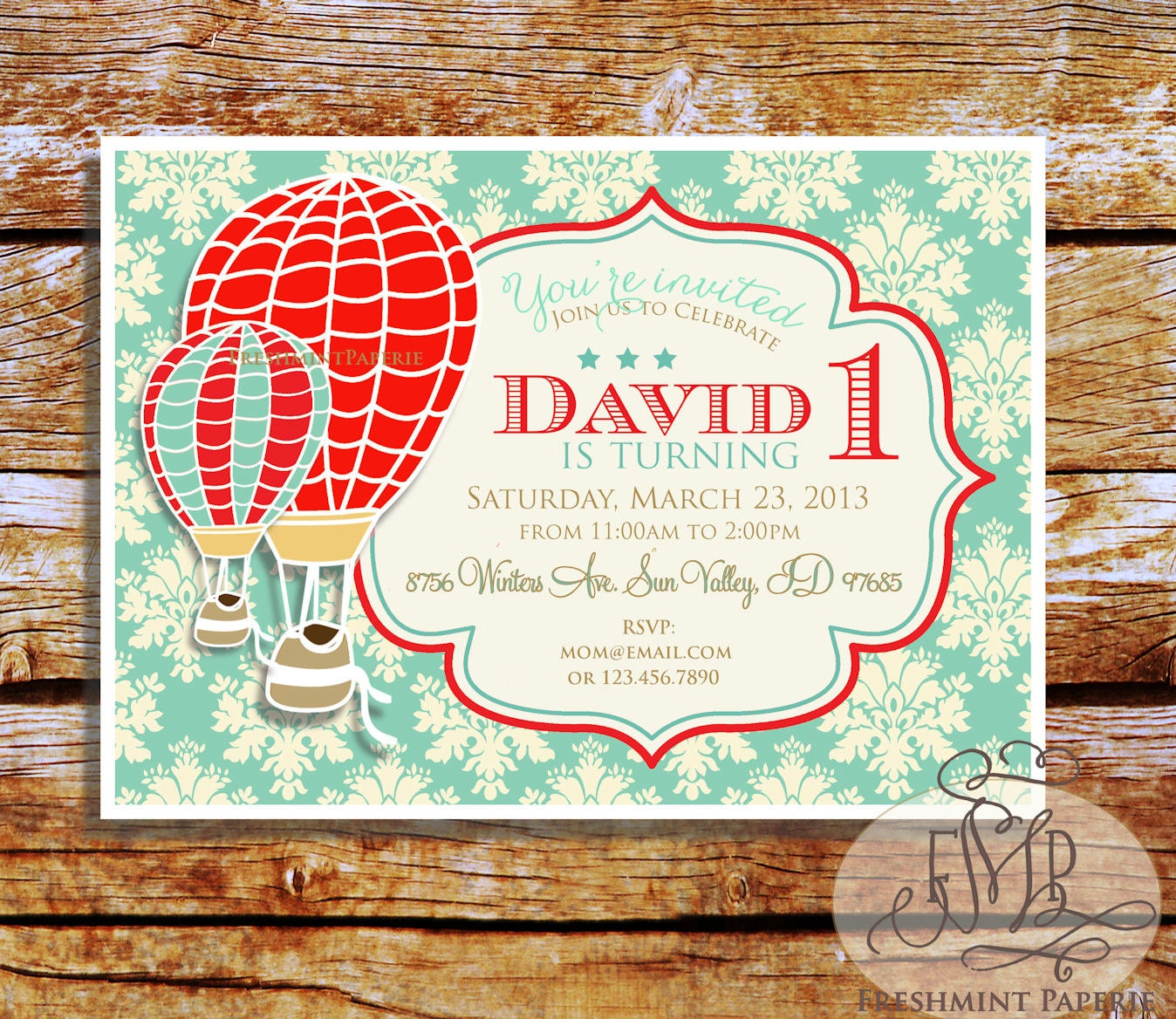 Printable invitations hot air balloon invitation vintage