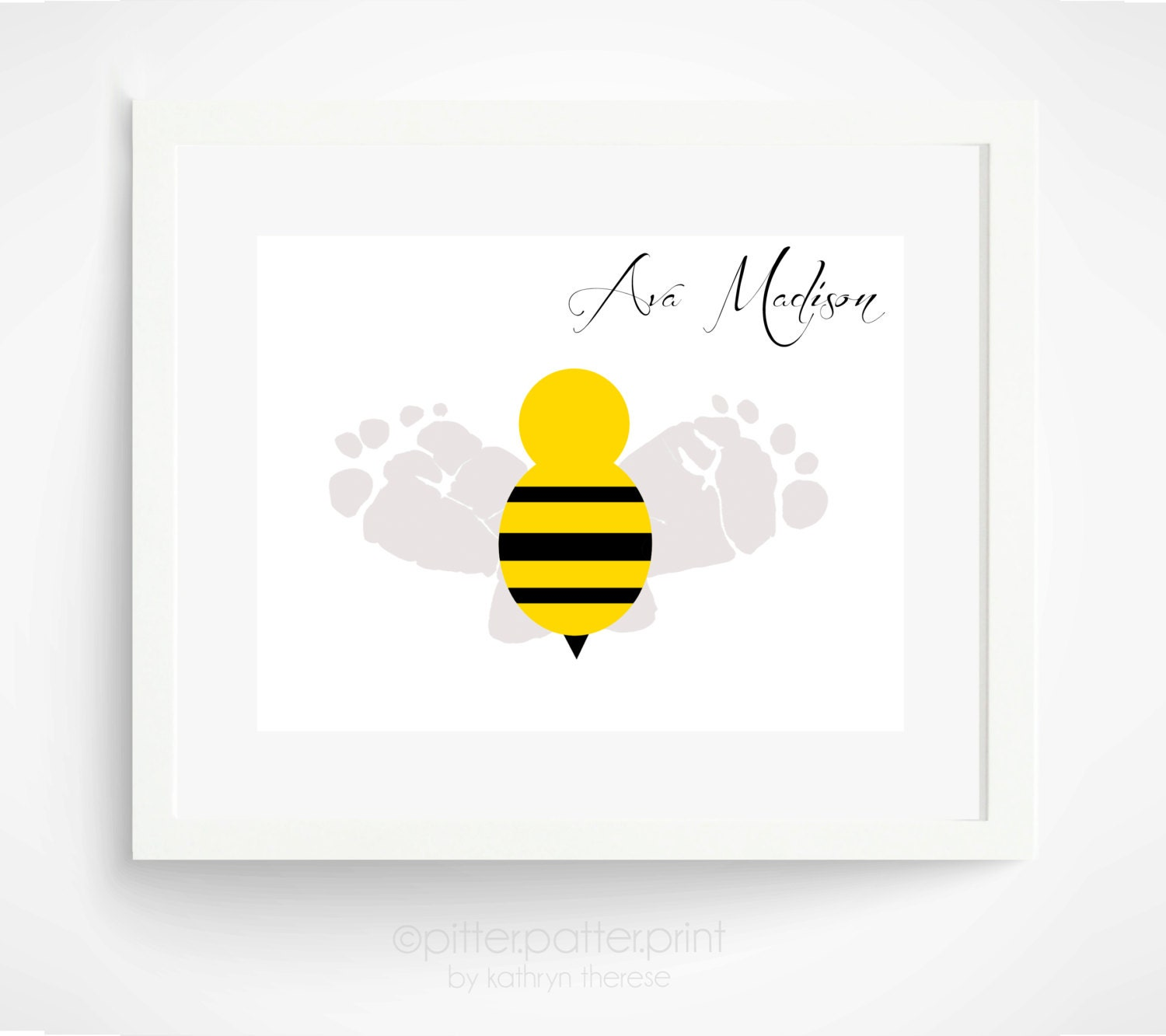 Baby nursery decor bumble bee baby footprint by for Bumble bee mural