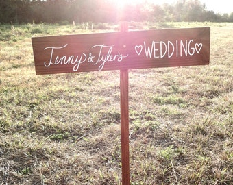 Personalized Wedding Directional Sign, Outdoor Weddings, Rustic Wooden Wedding Sign, The Paper Walrus