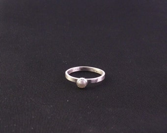 Freshwater Pearl and Sterling Silver Thin Stacking Ring