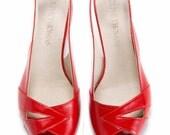 SALE 35% Discount Womans Red Peep Toe Mid-Heel Sandal // US sizes 4.5-12