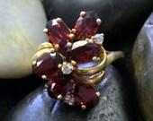 reserved for Pooneh 14K Gold Unique Garnet & Diamond Cluster Ring (st - 552)