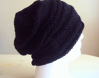 Mens Slouchy Beanie Knit Black Slouchy Hat Celebrity Hat Street Fashion Handmade Gift Ideas