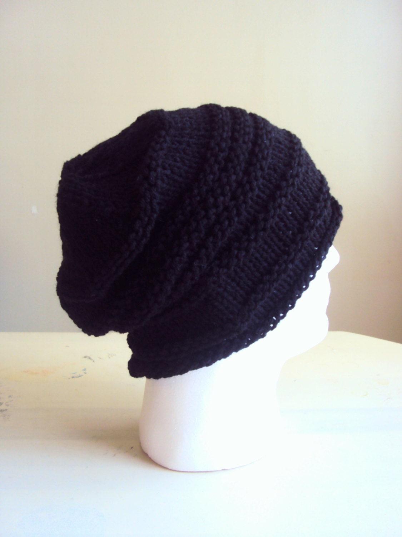 Mens Slouchy Beanie Knit Hat Dreadlock Hat Rasta Hat Black Dreadlock Hats For Men