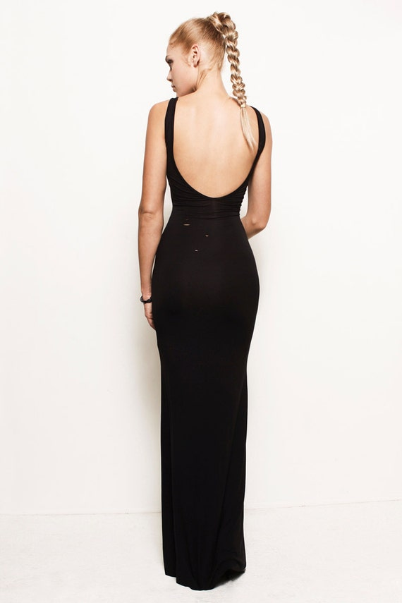 Black backless maxi dress uk