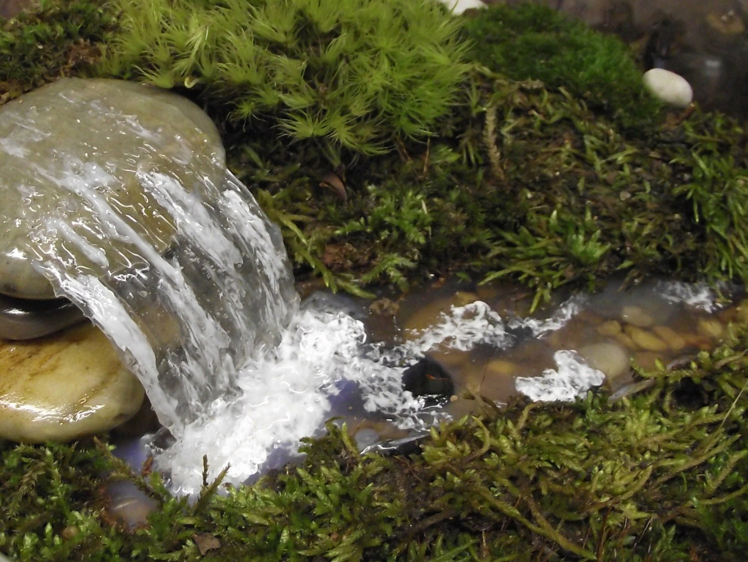 Add a miniature waterfall pond or river to your fairy garden for Fairy garden waterfall