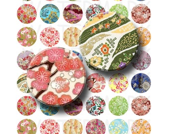 99 Cent Sale - Chiyogami Paper Designs - Digital Collage Sheet  - 1 inch Round Circles - INSTANT DOWNLOAD