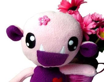 Big Fluse Kawaii Plush cute Monster stuffed animal Purple- light Pink