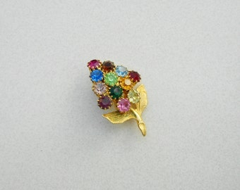 Vintage Pin glass rhinestone conical flower early 1960s vintage jewelry  Free USA Shipping