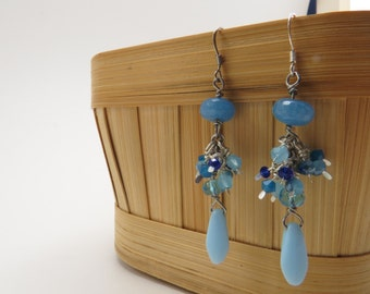 Collection of Blue Dangle Earrings - READY TO SHIP - Handmade Earrings - Angelite Gemstone Jewelry - Everyday Jewelry