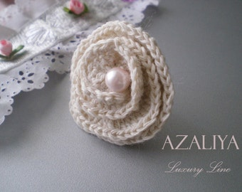 Rose Princess Ring with Pearl. Azaliya Luxury Line Jewelry. Bridal Ring, Bridesmaids Ring. Beige, White, Pale Pink. Crochet Ring.
