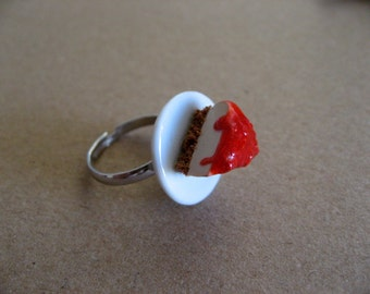 Cheesecake ring, miniature food ring, polymer clay dessert ring, Valentines day gifts