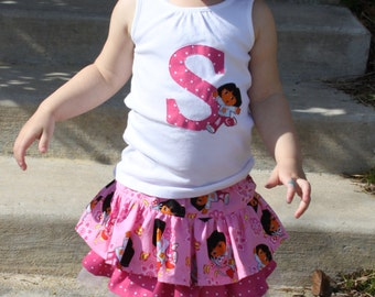 Adorable custom toddler/girls Dora birthday number shirt and/or twirly skirt- short or long sleeves or tank top