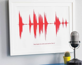 PERSONALISED SOUND PRINT Voice Song Heart Beat Wall Art Valentines Day Unique Gift For Dad Him Science Music Uk *Small A4* Unframed BuzzFeed