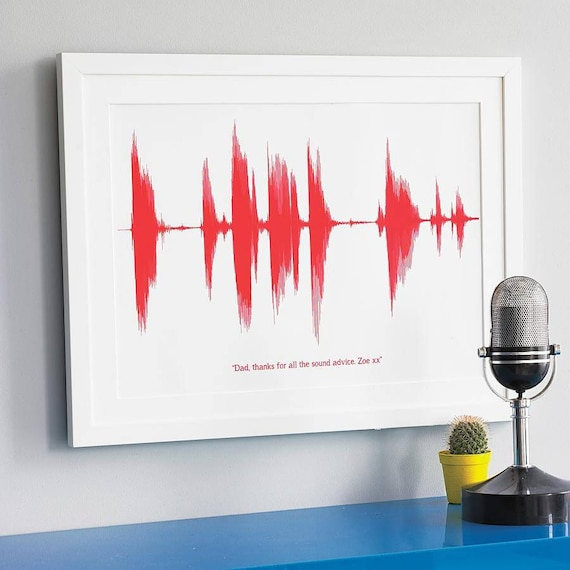 Personalised gift sound wave print voice song heart beat new for Sentimental gift ideas