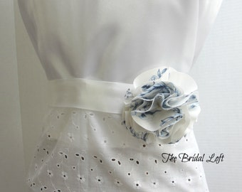 Blue Rose Dress Sash, Blue Dress Sash, Something Blue Bridal Sash, Matching Items Available