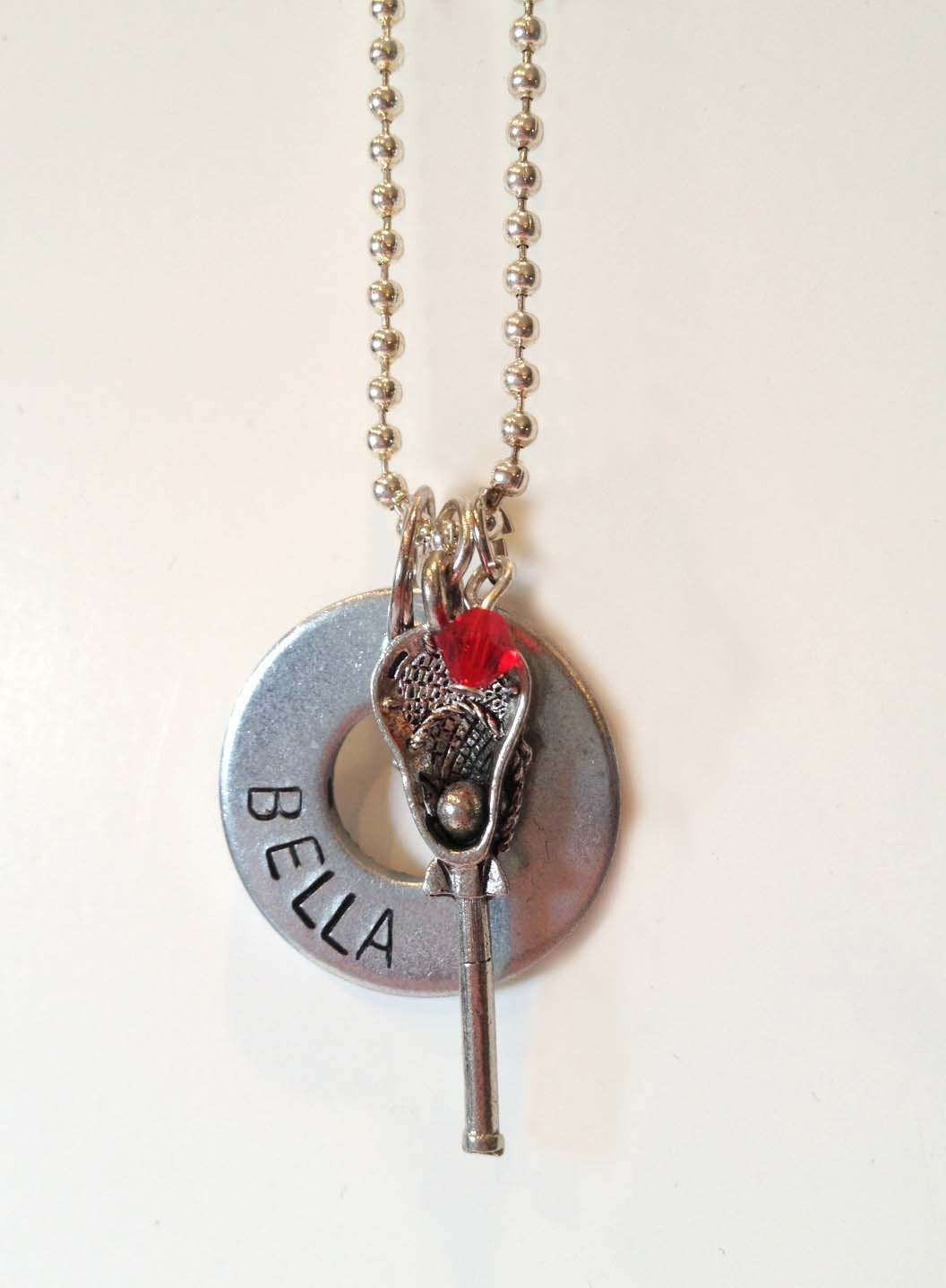 personalized washer necklace with lacrosse charm by
