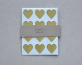 72 Metallic Gold Heart Stickers