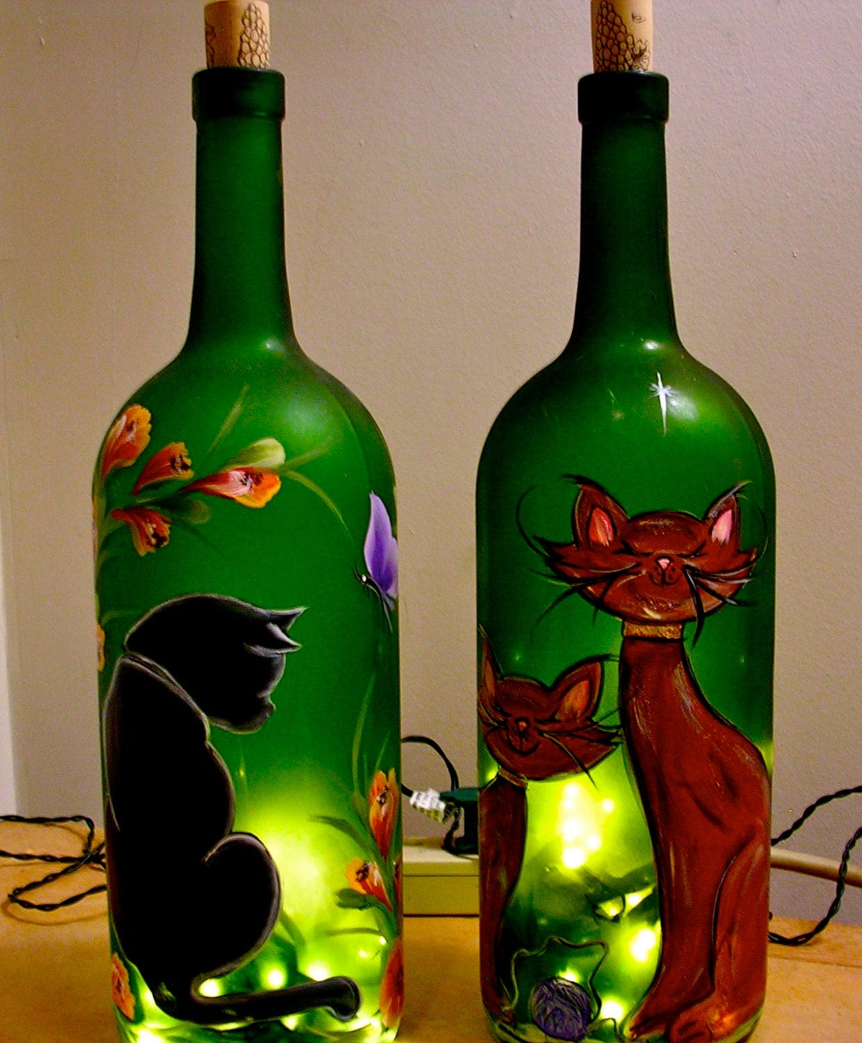 lighted wine bottle hand painted cat decorative lamp
