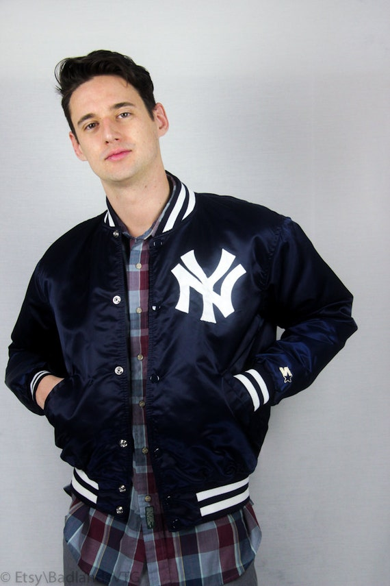 1980s Mens Ny Yankees Bomber Jacket By Starter Sz L