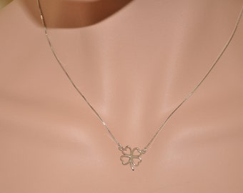 Sterling Silver Necklace, Sterling Silver Flower Pendant Necklace