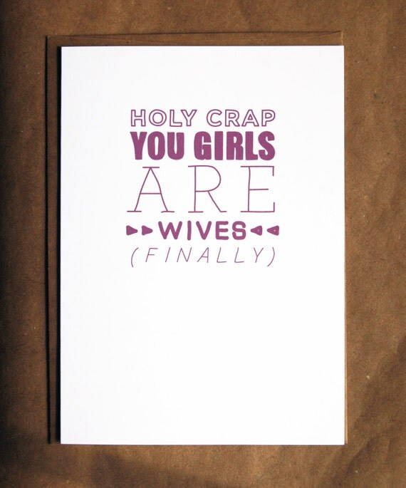 funny lgbt wedding card     you girls are wives