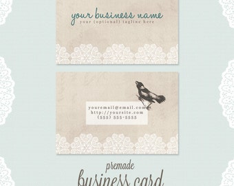 premade business card design - double-sided rustic bird with white lace